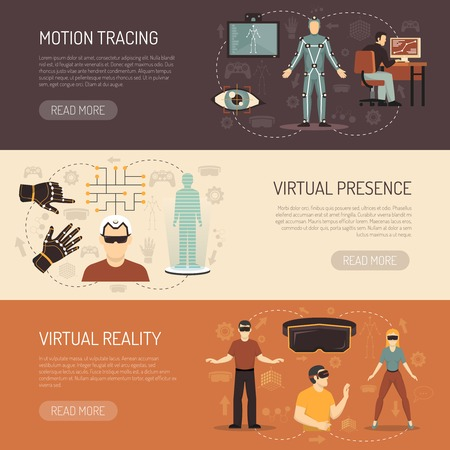 presence: Virtual reality horizontal banners with gamers and devices for motion tracing eye tracking and virtual presence flat vector illustration