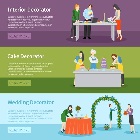 wedding reception decoration: Interior design and wedding ceremony decoration ideas 3 flat banners webpage with read more button vector illustration
