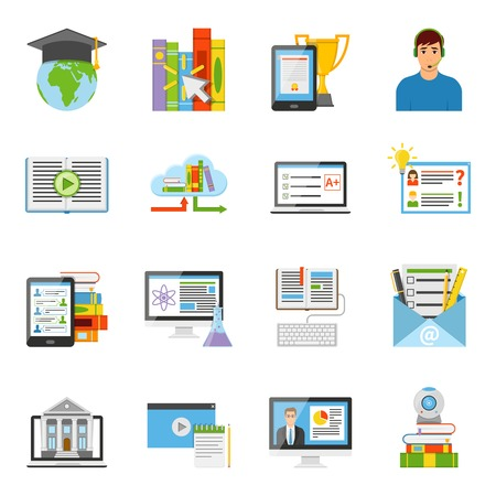 internationally: Online education e-learning it electronic technology flat icons collection with internationally recognized diploma isolated vector illustration