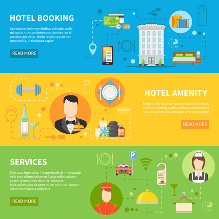 hotel rooms: Hotel Service Flat Horizontal Banners Set Isolated Vector Illustration