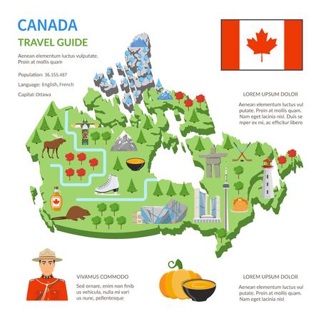 Guide de voyage au Canada pour les touristes Affiche infographique plane avec carte du pays repères et symboles culturels illustration vectorielle Vecteurs
