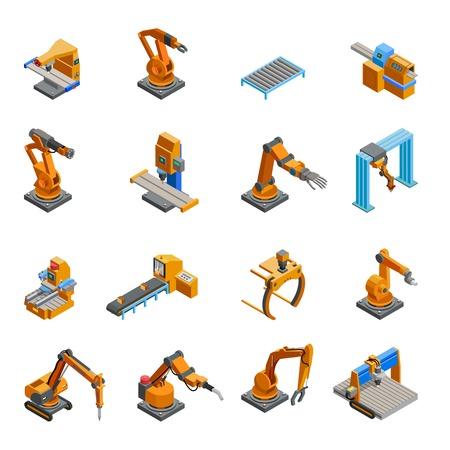 programmables robotiques échantillons d'armes mécaniques télécommandés dans l'industrie de l'automatisation des icônes isométrique collection résumé, vecteur, isolé, illustration Vecteurs