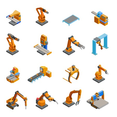 controlled: Remotely controlled programmable robotic mechanical arms samples in automation industry isometric icons collection abstract isolated vector illustration