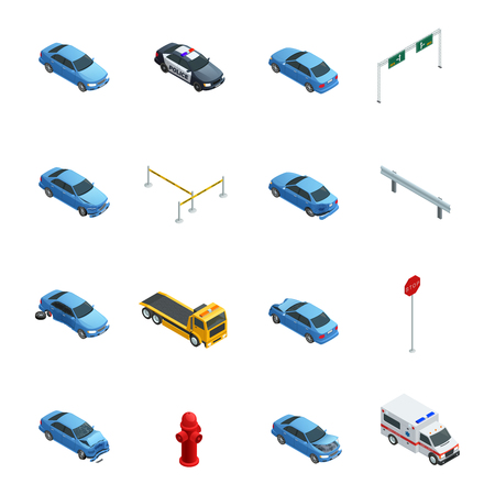 perimeter: Colorful car accidents isometric icons set with evacuator police ambulance and road sign isolated on white background vector illustration