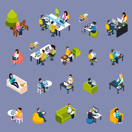 time specification: Coworking freelance people isometric icons set with work symbols isolated vector illustration