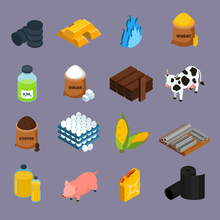 Commodity pictogrammen die met melk maïs en goud symbolen isometrische geïsoleerd vector illustratie