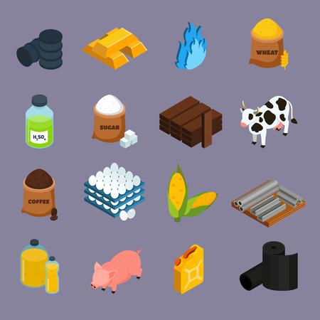 icônes des produits de base définies avec le maïs et or symboles de lait isométrique isolé illustration vectorielle