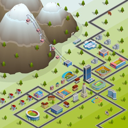 chairlift: Sport village buildings and accommodations for participating in games athletes isometric layout birds eye view poster vector illustration Illustration