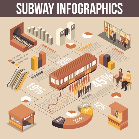railcar: Subway isometric infographics elements with tunnel turnstiles escalator railcar passengers and cashier selling tickets vector illustration Illustration