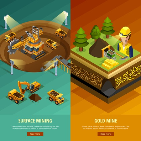 mining machinery: Mining vertical banners set with surface mining symbols isometric isolated vector illustration