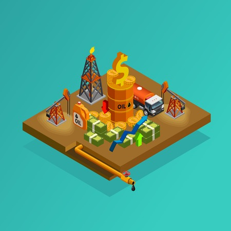 industry poster: OIl and gas industry exploration and production profits isometric background poster with derrick and tanker transport vector illustration