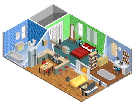 Huis interieur isometrisch ontwerp met woonkamer badkamer keuken slaapkamer en studeer vectorillustratie