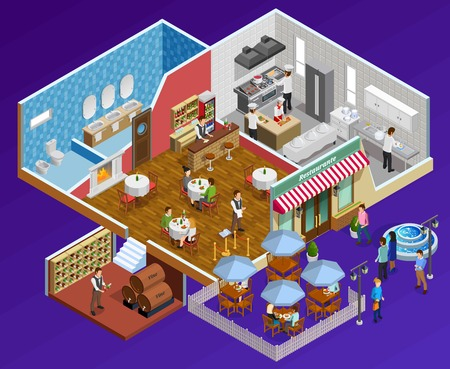 facilities: Restaurant interior isometric concept with facilities and service symbols on dark blue background  vector illustration Illustration