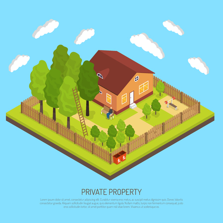 cottage garden: Private suburb property with fence boundary isometric image with piece of land and country house abstract vector illustration