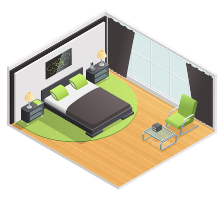 sales floor: Bedroom interior isometric view with queen size double bed nightstand and lime green carpet abstract vector illustration