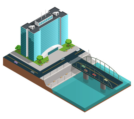 canal: Isometric city composition with many-storeyed modern building on bank of canal on white background vector illustration