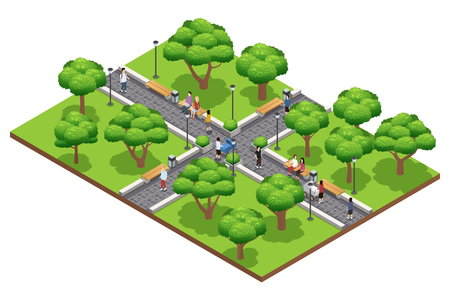 green park: Isometric landscaping composition with people walking in green park in summer on white background vector illustration