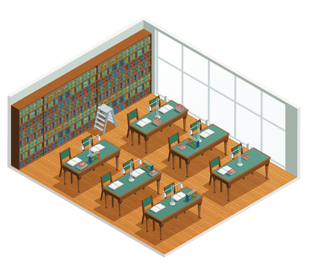 bookshop: Isometric interior for bookstore and library reading hall with bookcases and tables with opened books vector illustration
