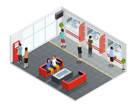 Male and female people in bank office with counters and atm isometric vector illustration