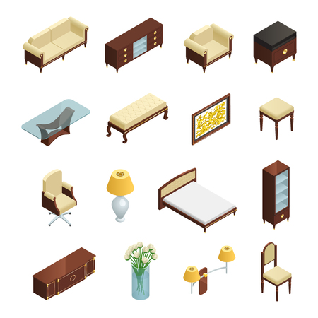 luxury hotel room: Luxury interior isometric elements set for bedroom living room and study with furniture and decorations isolated on white background vector illustration