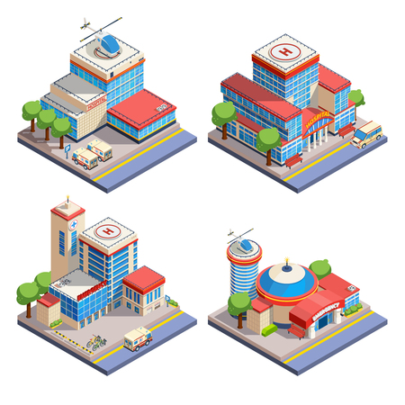 injuring: Modern hospital buildings with helicopter pads and emergency transport isometric icons set on white background isolated vector illustration