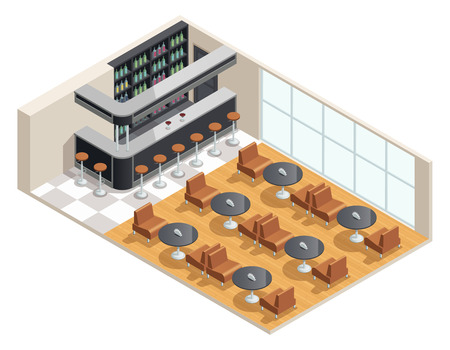 titles: Color isometric design of cafe interior with bar table vector illustration Illustration