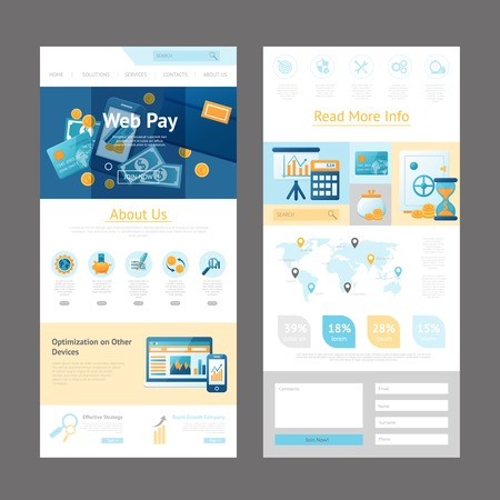 web template: Pages template design of website for online payments administration and web pay system vector illustration Illustration