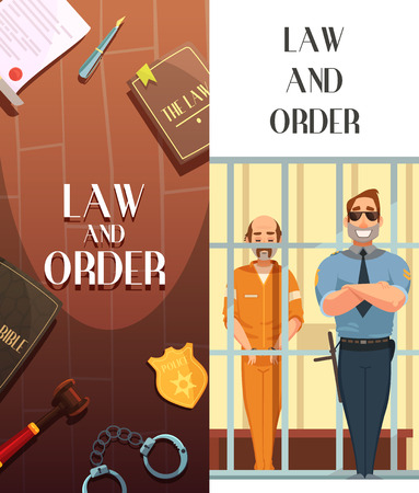 convict: Law and justice 2 vertical cartoon banners set with convict in jail behind bars retro vector illustration