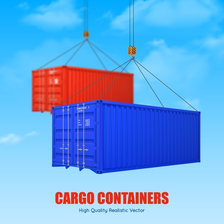 picked: Advertising poster of blue and red cargo containers picked up by crane hooks realistic vector illustration Illustration