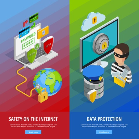 internet protection: Data protection vertical banners set with internet security symbols isometric isolated vector illustration