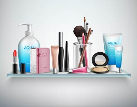 productos de belleza: Maquillaje accesorios de los cosméticos y productos de belleza que hidrata en el estante de vidrio pared del baño imagen realista de la ilustración del cartel del vector