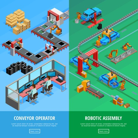 manufacture: Conveyor operator and automotive manufacture robotic assembly line 2 isometric vertical banners webpage design isolated vector illustration
