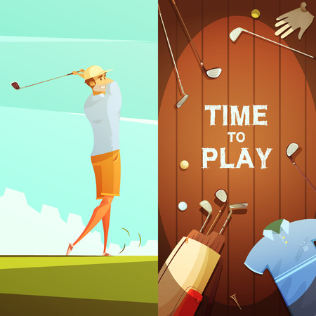 Time to play 2 retro cartoon banners with golf equipment composition and player on course isolated vector illustration