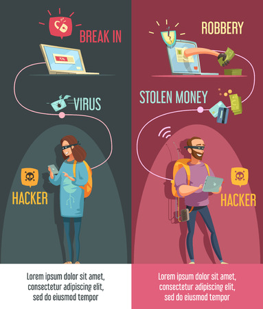 breaking the code: Hackers criminal activity 2 vertical banners set with man and woman breaking computer accounts isolated  cartoon vector illustration Illustration