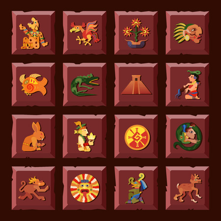 civilization: Maya square icons set with civilization and culture symbols flat isolated vector illustration