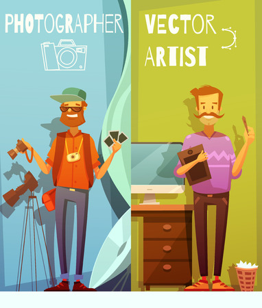 creative artist: Two vertical cartoon banners with funny photographer and artist standing near equipment for their creative work flat vector illustration