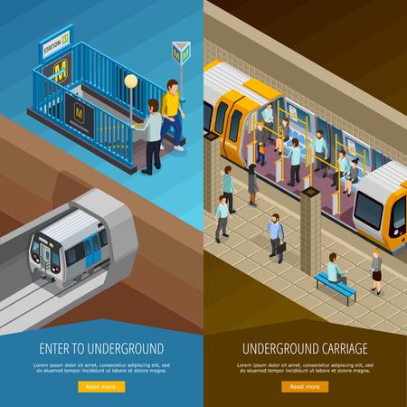 Underground vertical isometric banners set with people and platform symbols isolated vector illustration Ilustração Vetorial
