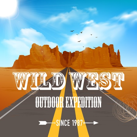 canyon: Wild west poster of road going through desert to canyon rock with blue sky vector illustration Illustration