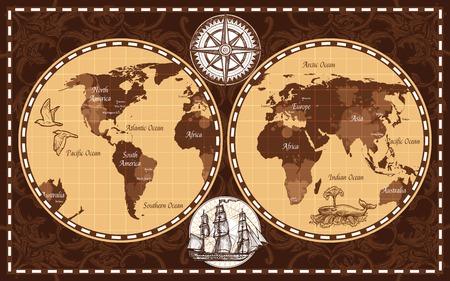 de color marrón retro mapa del mundo de la náutica con los nombres de los continentes y océanos ilustración vectorial plana