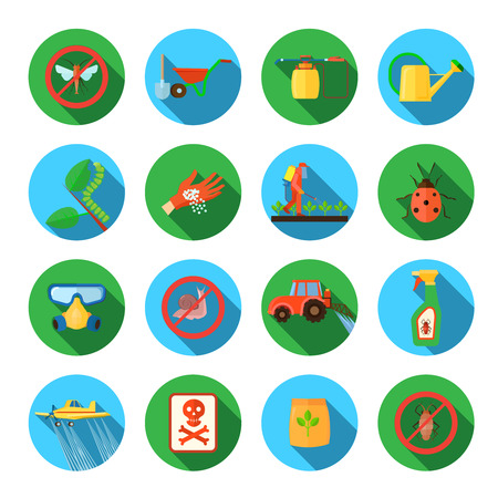 blogs: Pesticides and farming round shadow icons set flat isolated vector illustration