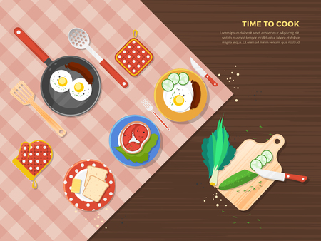 food preparation: Time to cook top view poster of dishes from different food ingredients and preparation process vector illustration