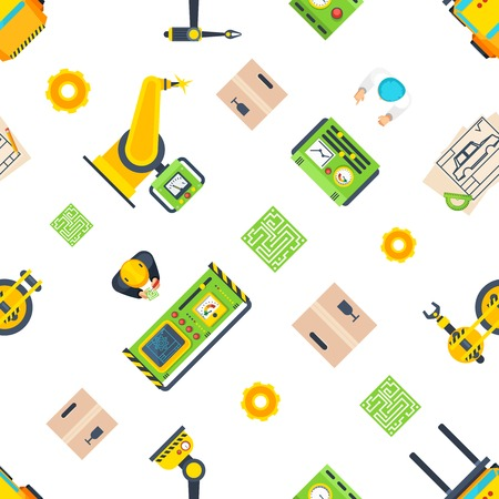 Top view seamless pattern with different production line elements like control panel or automatic tool flat vector illustration