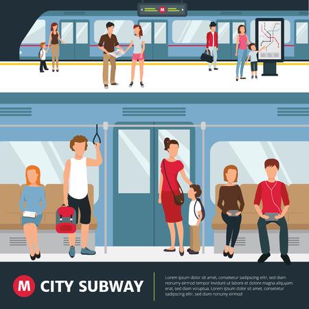 La gente en el metro de la ciudad en el interior del tren y de espera en la estación de ilustración vectorial plana