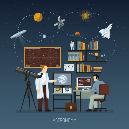exploration: Astronomy design concept with scientists busying cosmos exploration and modern equipment for space research flat vector illustration