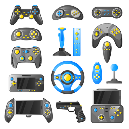Collection of game consoles wireless gamepad joystick and steering wheel isolated color icons set vector illustration