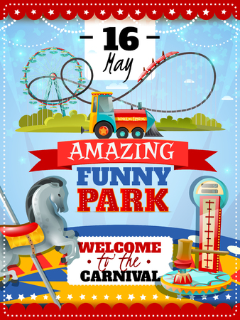 striker: Amusement park poster with dynamometer striker and carousel icons and welcome to carnival invitation with date flat vector illustration