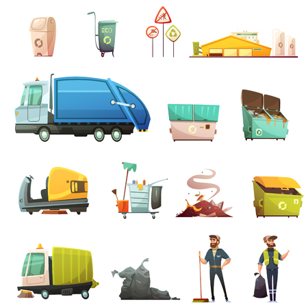 clean street: Garbage sorting and recycling process cartoon icons set with yard waste collecting in eco containers isolated icons illustration Illustration