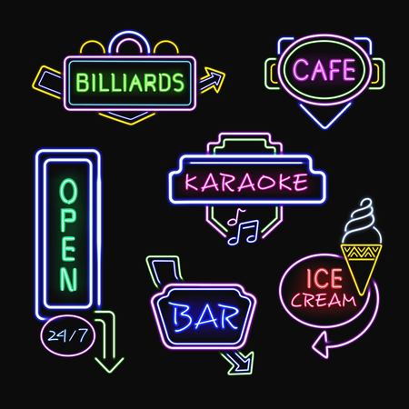 fluorescent: Neon ice cream cafe bar and karaoke club signboards at night realistic icons collection isolated vector illustration