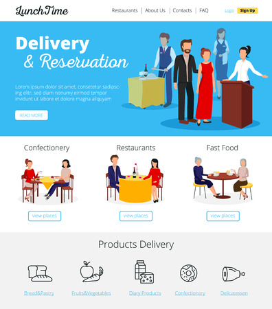 reservations: Restaurant online delivery orders and fast food cafe bars  reservations service infographic flat banners design vector illustration