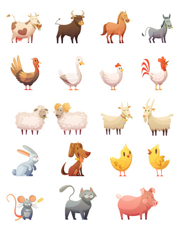 Farm animals cartoon icons set of hen gobbler cow horse ram cat bunny isolated vector illustration Çizim